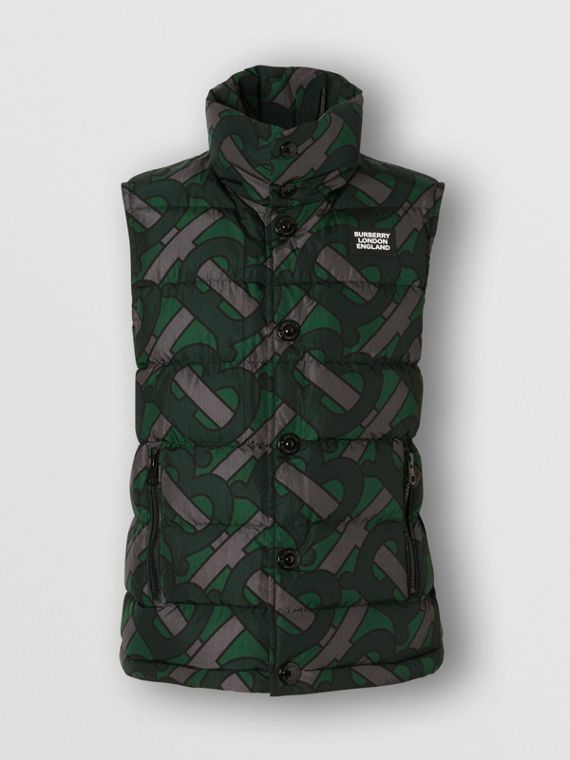 Monogram Print Oversized Puffer Gilet in Forest Green