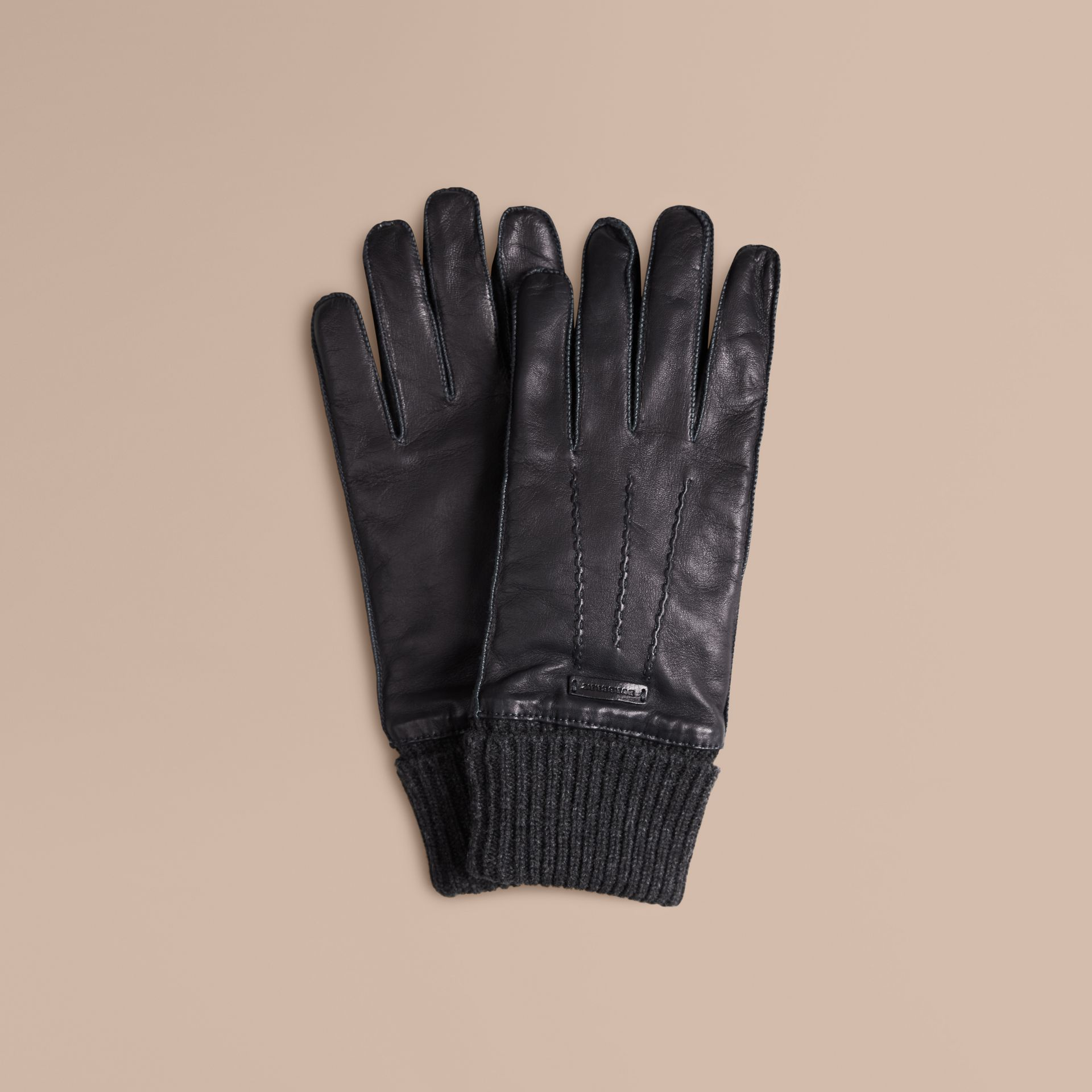 Black Knit Cuff Lambskin Gloves - gallery image 1