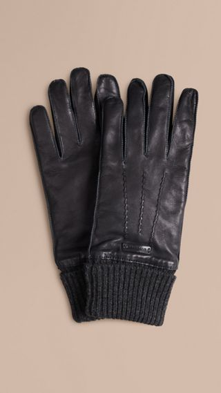 Knit Cuff Lambskin Gloves