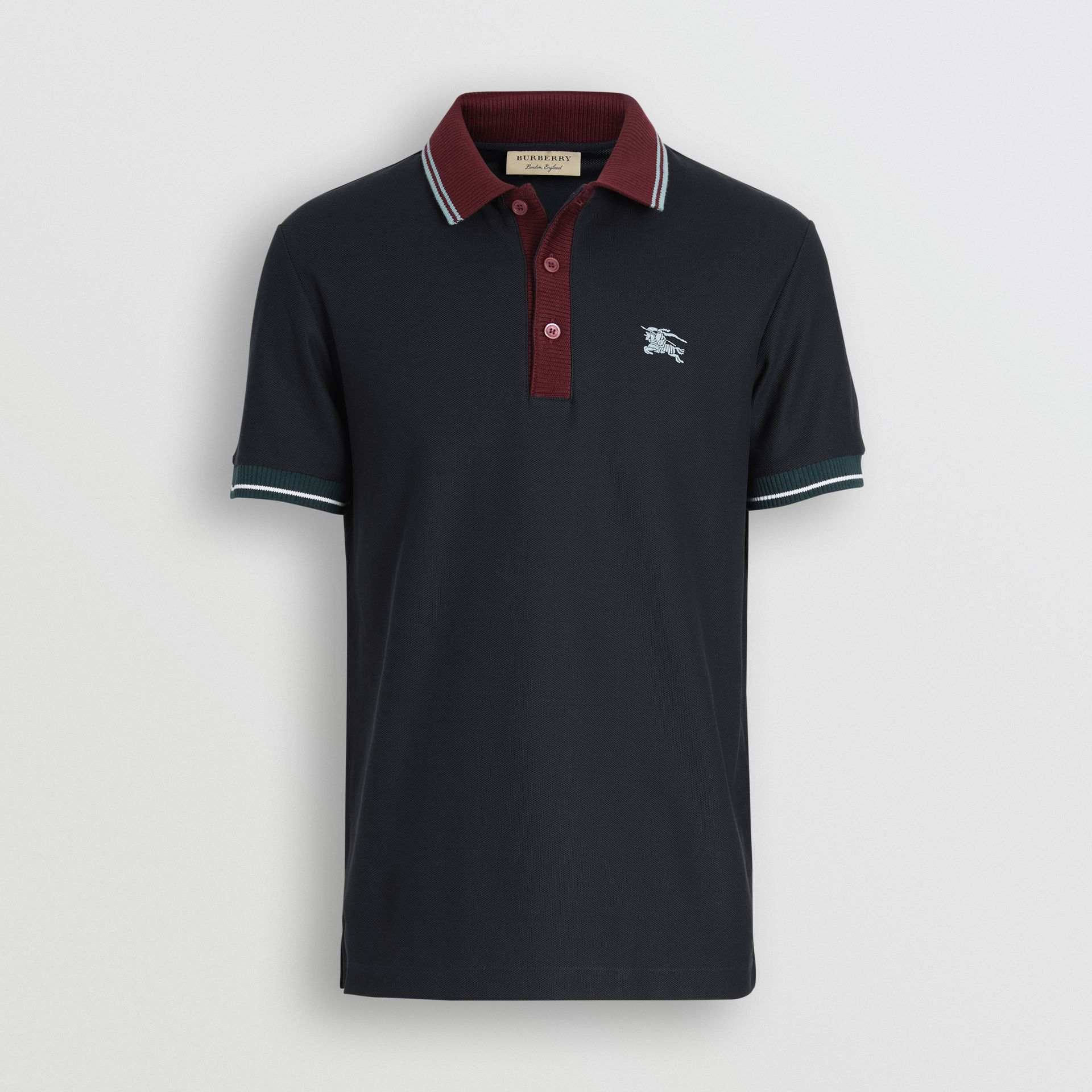 Tipped Cotton Piqué Polo Shirt in Dark Navy - Men | Burberry Canada - gallery image 3