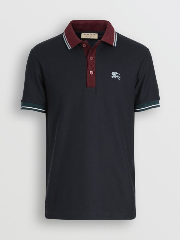 Tipped Cotton Piqué Polo Shirt in Dark Navy - Men | Burberry Canada - cell image 3