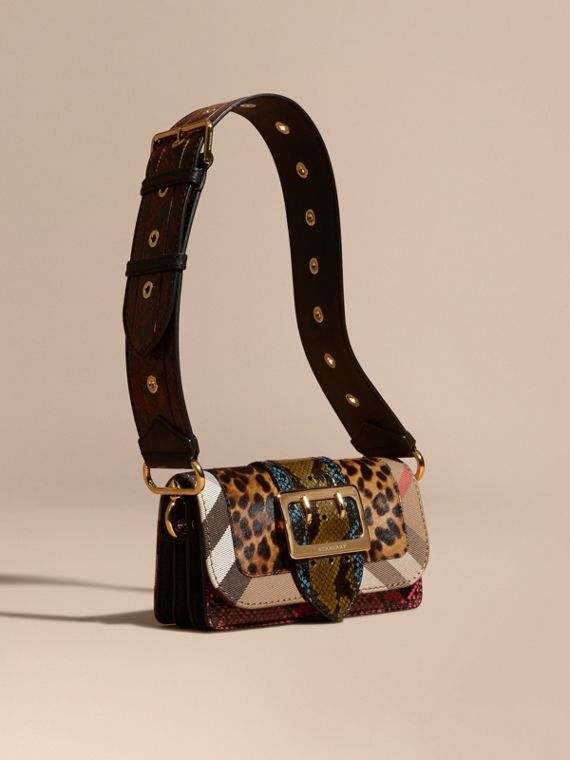 Borsa The Patchwork in cavallino con stampa leopardata e pelle di serpente