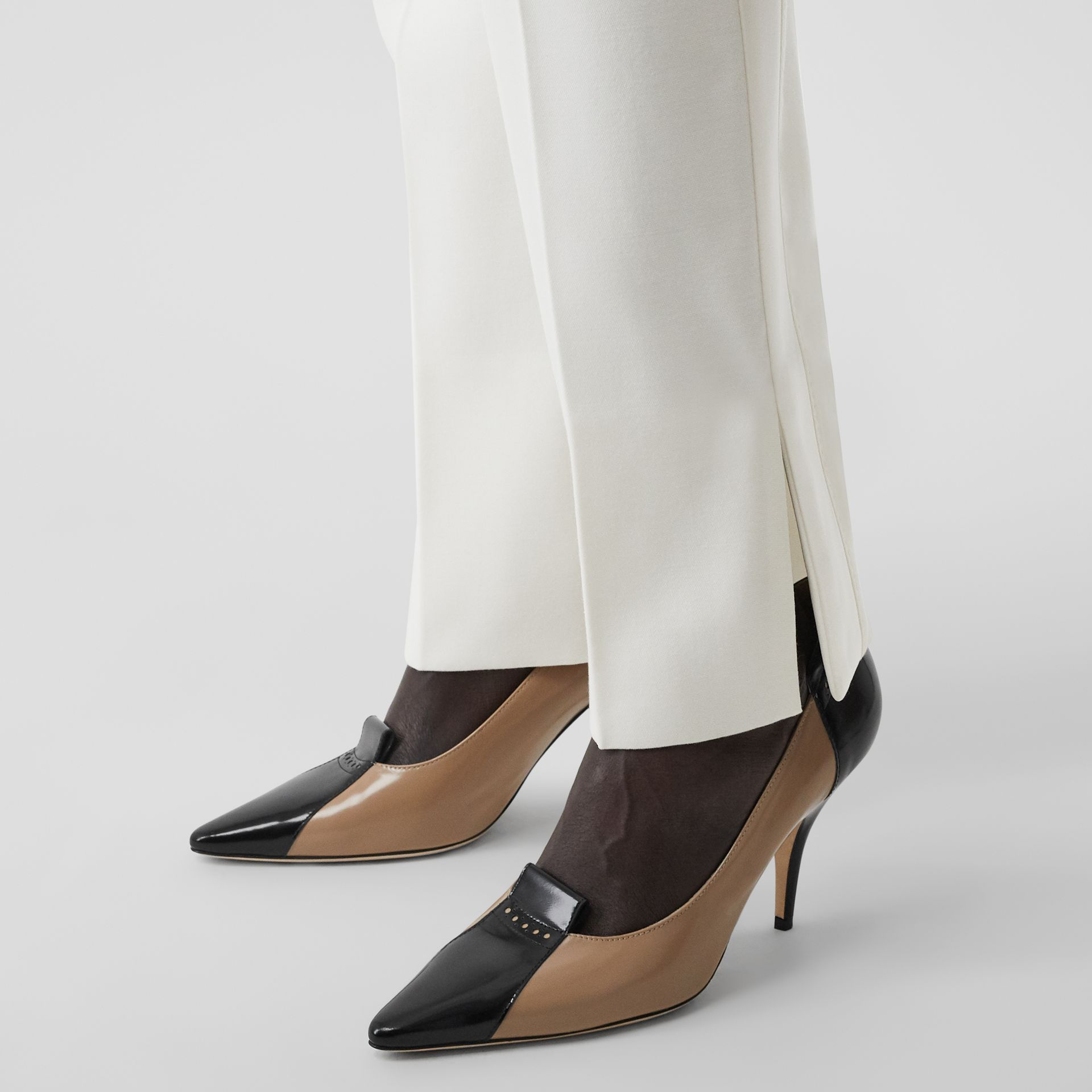 Satin Stripe Detail Wool Tailored Trousers in Natural White - Women | Burberry United Kingdom - gallery image 1