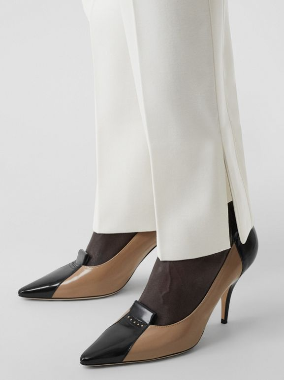 Satin Stripe Detail Wool Tailored Trousers in Natural White - Women | Burberry - cell image 1