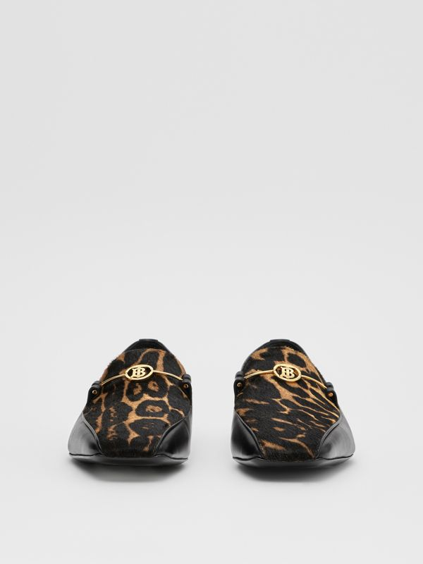 Leopard Print Calf Hair and Leather Loafers in Black/leopard - Women | Burberry United Kingdom - cell image 3