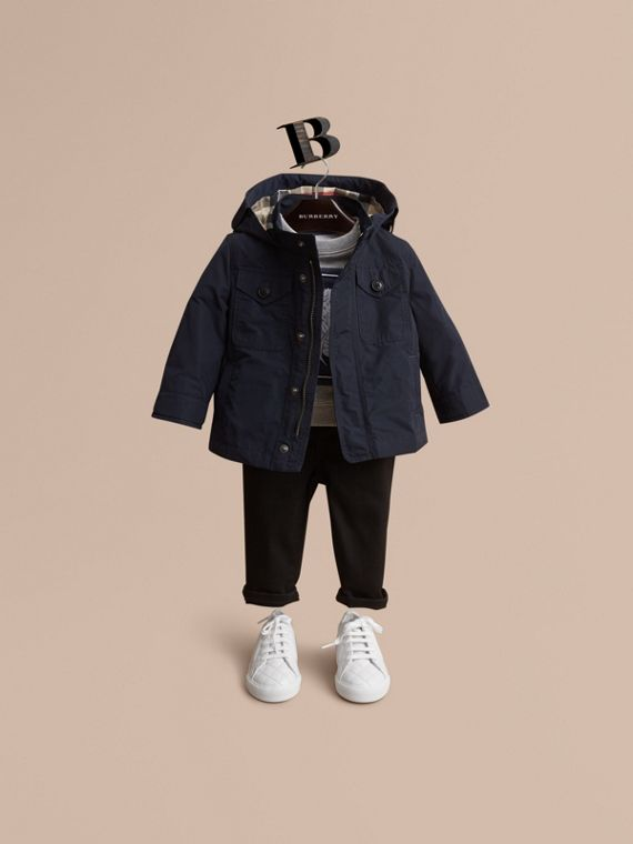Hooded Field Jacket in Ink | Burberry Canada