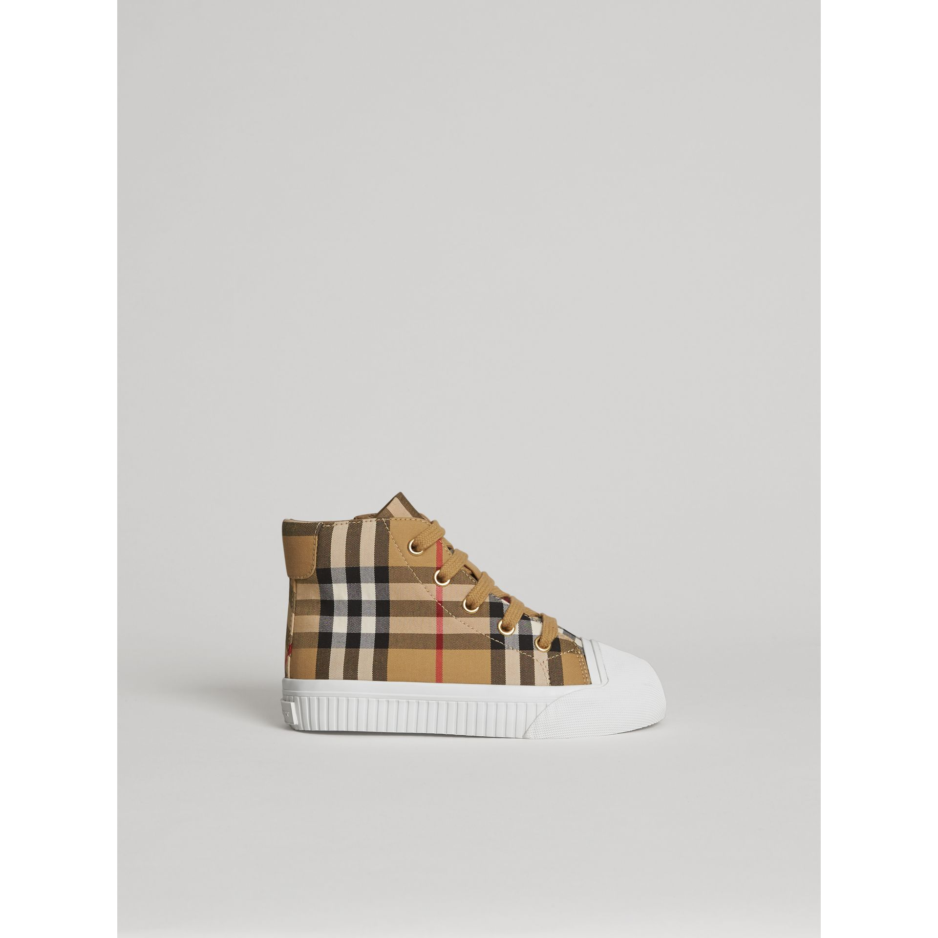 Vintage Check and Leather High-top Sneakers in Antique Yellow/optic White | Burberry Australia - gallery image 3