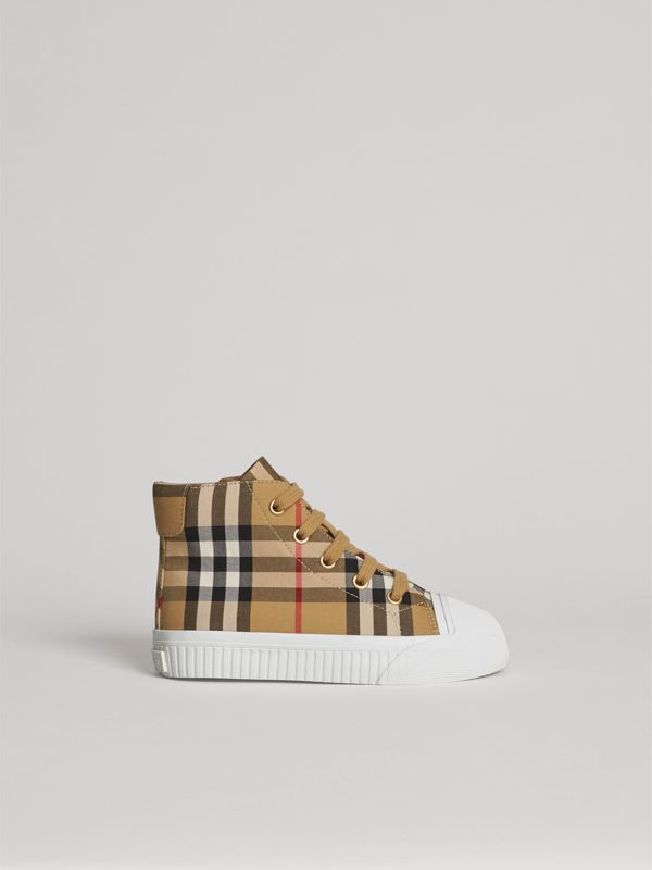 Vintage Check and Leather High-top Sneakers in Antique Yellow/optic White | Burberry United States - cell image 3