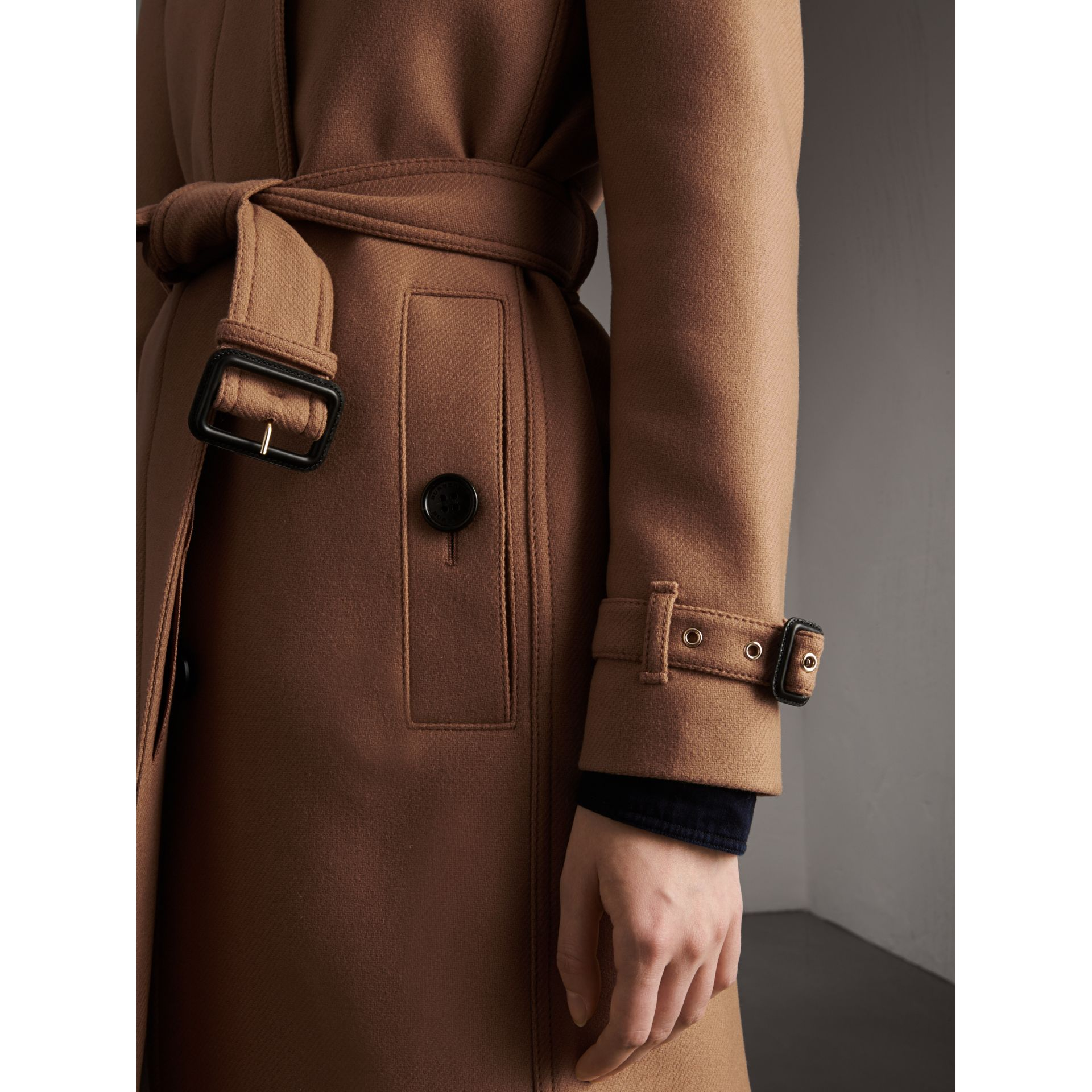 Technical Wool Cashmere Funnel Neck Coat in Camel - Women | Burberry United States - gallery image 5
