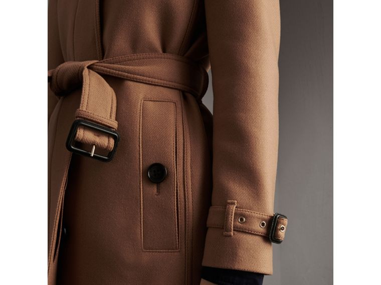 Technical Wool Cashmere Funnel Neck Coat in Camel - Women | Burberry - cell image 4