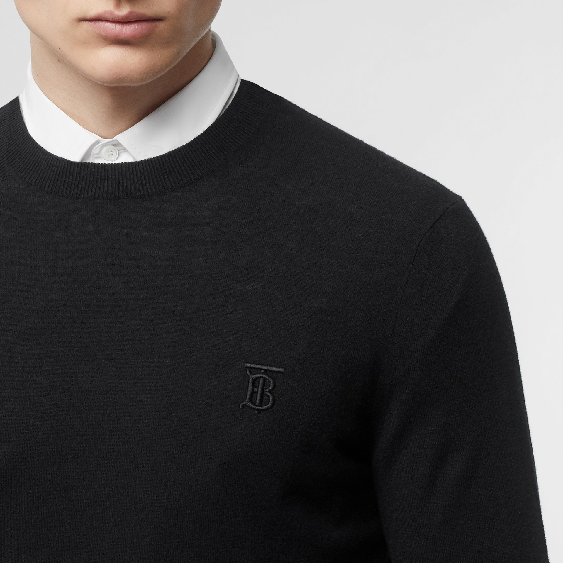 Monogram Motif Cashmere Sweater in Black - Men | Burberry - gallery image 1