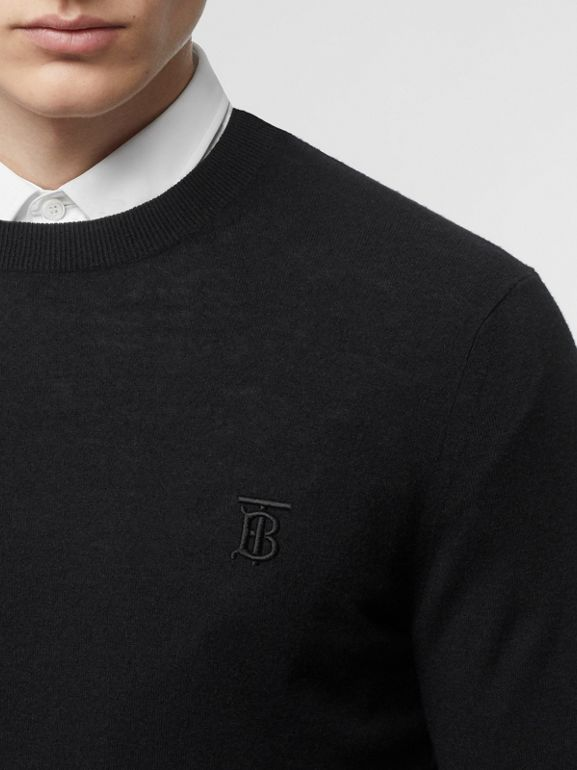 Monogram Motif Cashmere Sweater in Black - Men | Burberry Hong Kong - cell image 1