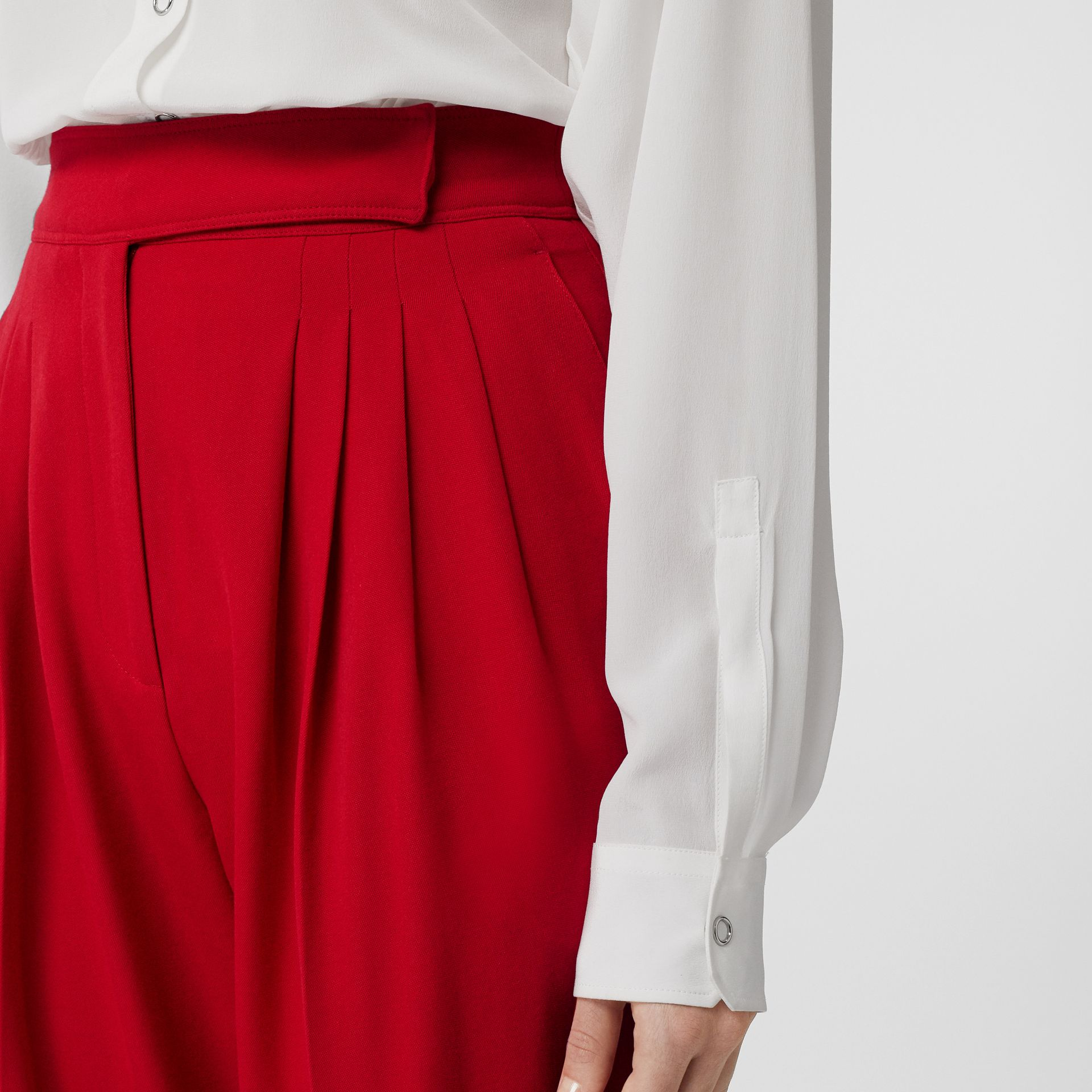 Pleat Detail Wool Tailored Trousers in Bright Red - Women | Burberry - gallery image 5