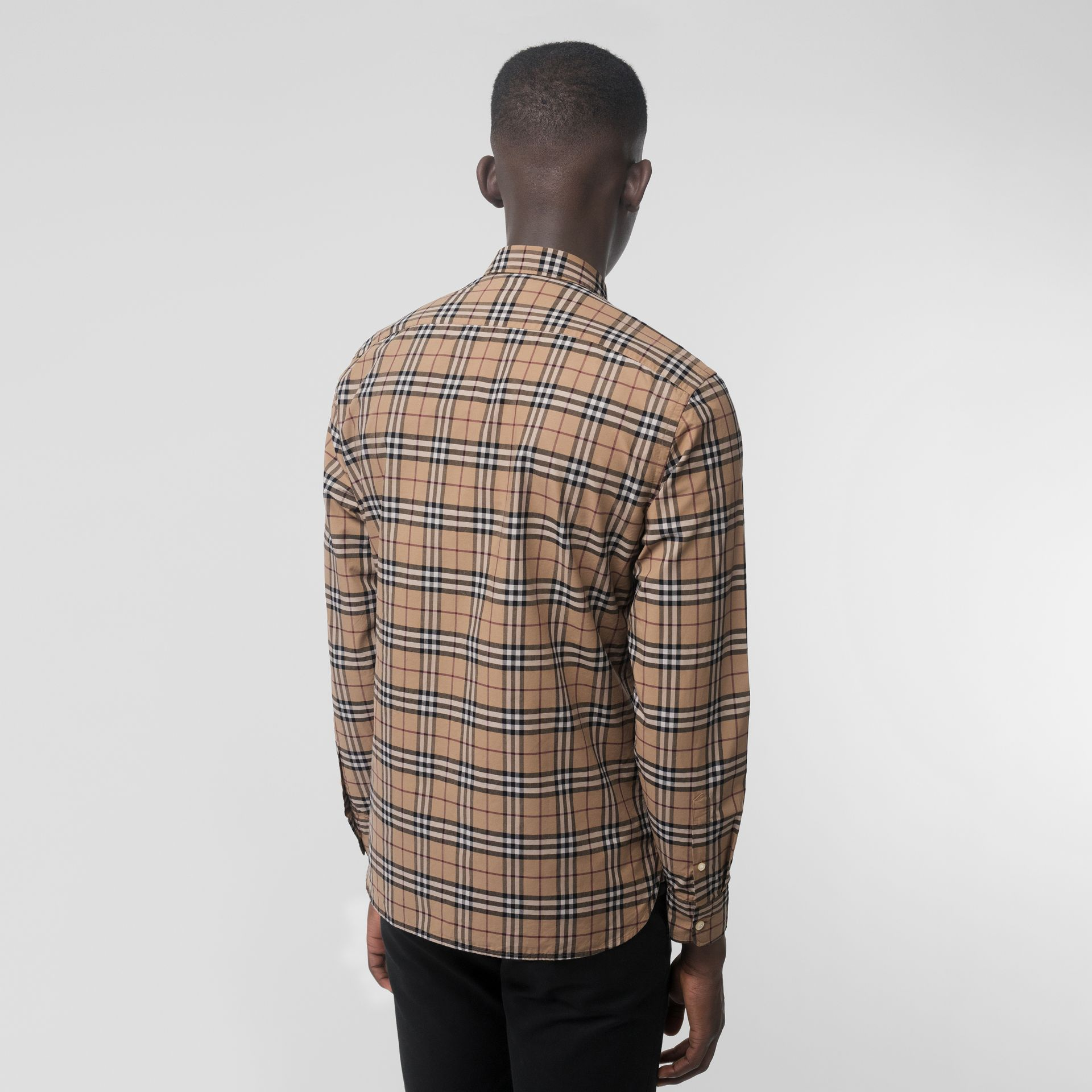 Check Cotton Shirt In Camel Men Burberry United States