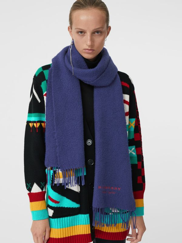 Embroidered Cashmere Fleece Scarf in Bright Navy | Burberry - cell image 2