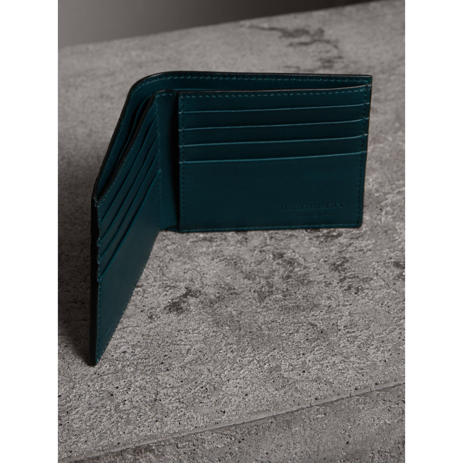 Haymarket Check International Bifold Wallet in Bright Blue - Men | Burberry Singapore - gallery image 3