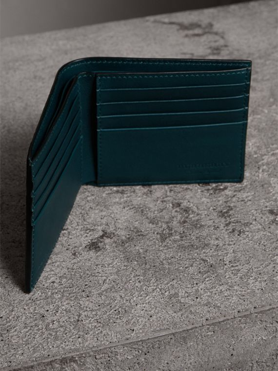 Haymarket Check International Bifold Wallet in Bright Blue - Men | Burberry - cell image 3