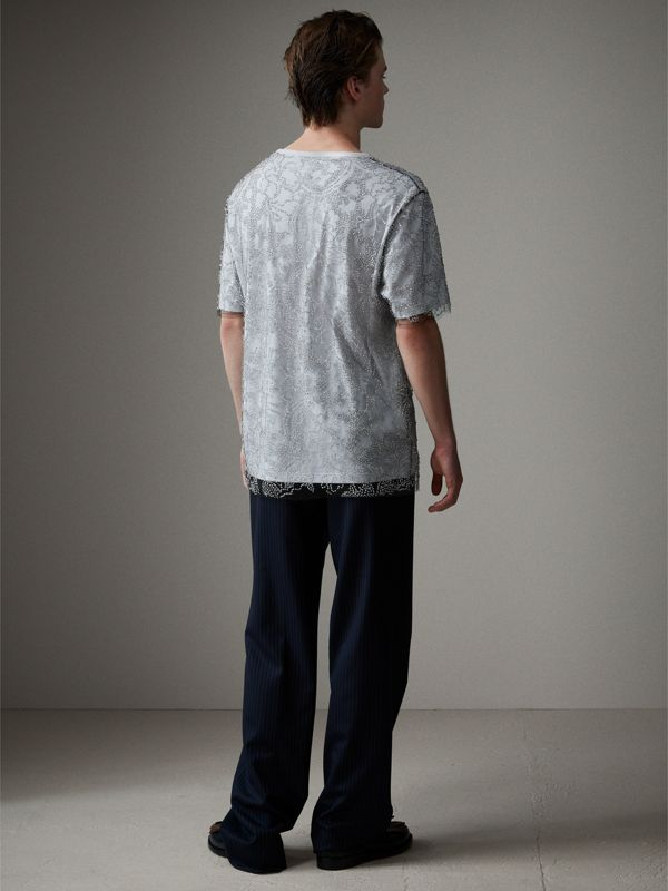 Beaded Tulle and Cotton T-shirt in Black - Men | Burberry - cell image 2