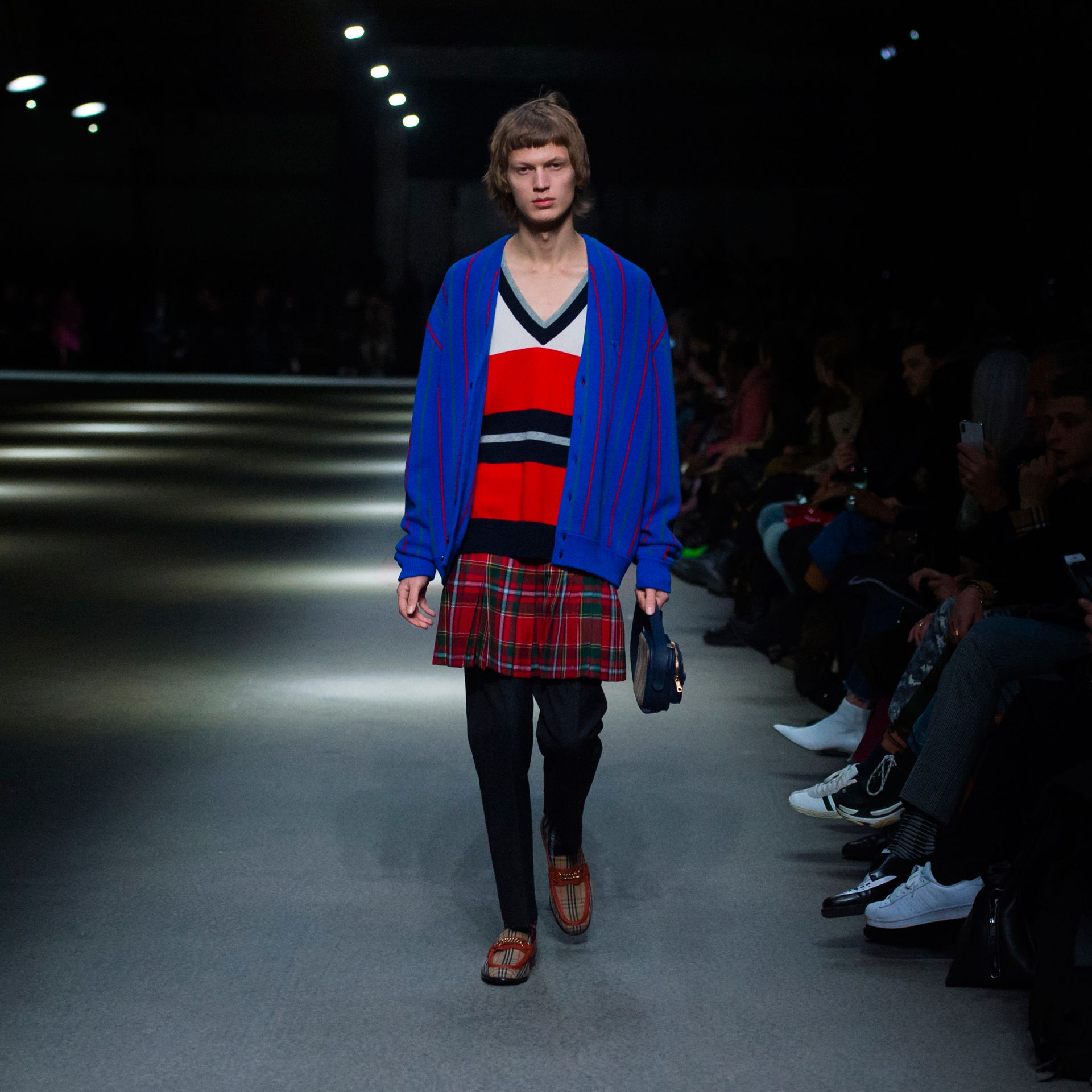 Reissued Striped Wool Cardigan in Royal Blue - Men | Burberry United States - gallery image 6