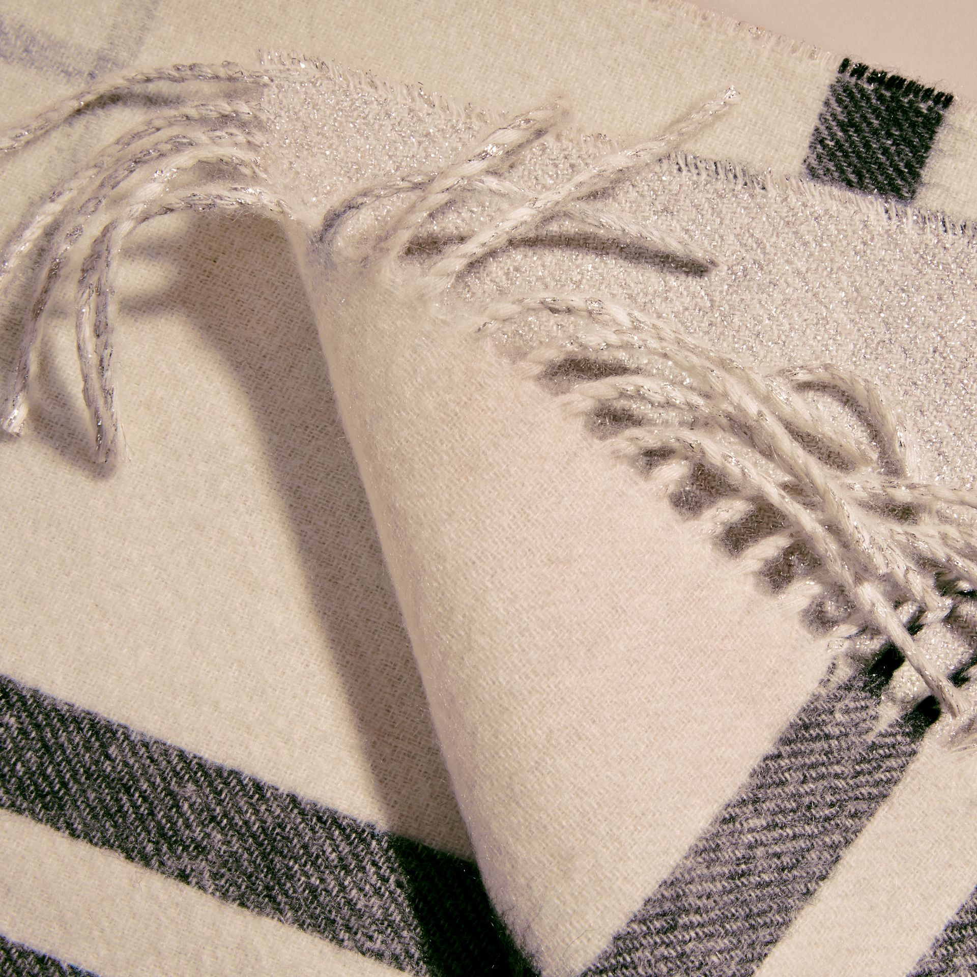 Natural white Reversible Metallic Check Cashmere Scarf Natural White - gallery image 5