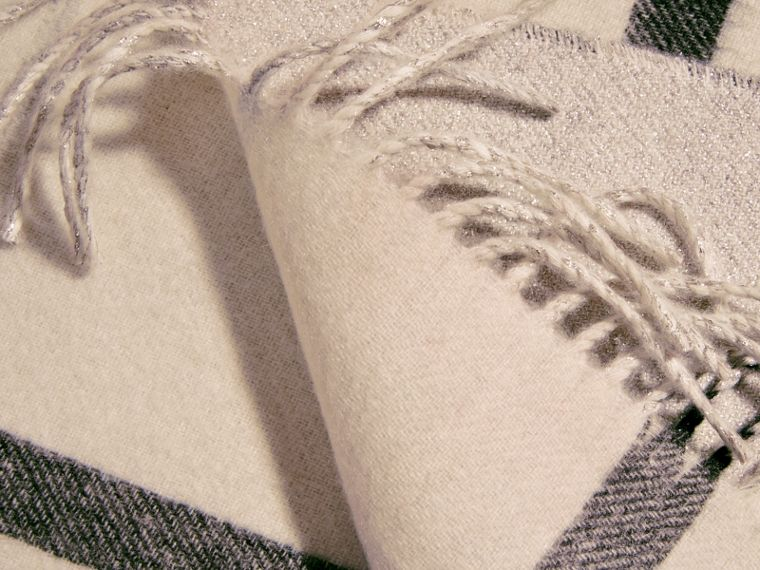 Reversible Metallic Check Cashmere Scarf in Natural White - cell image 4