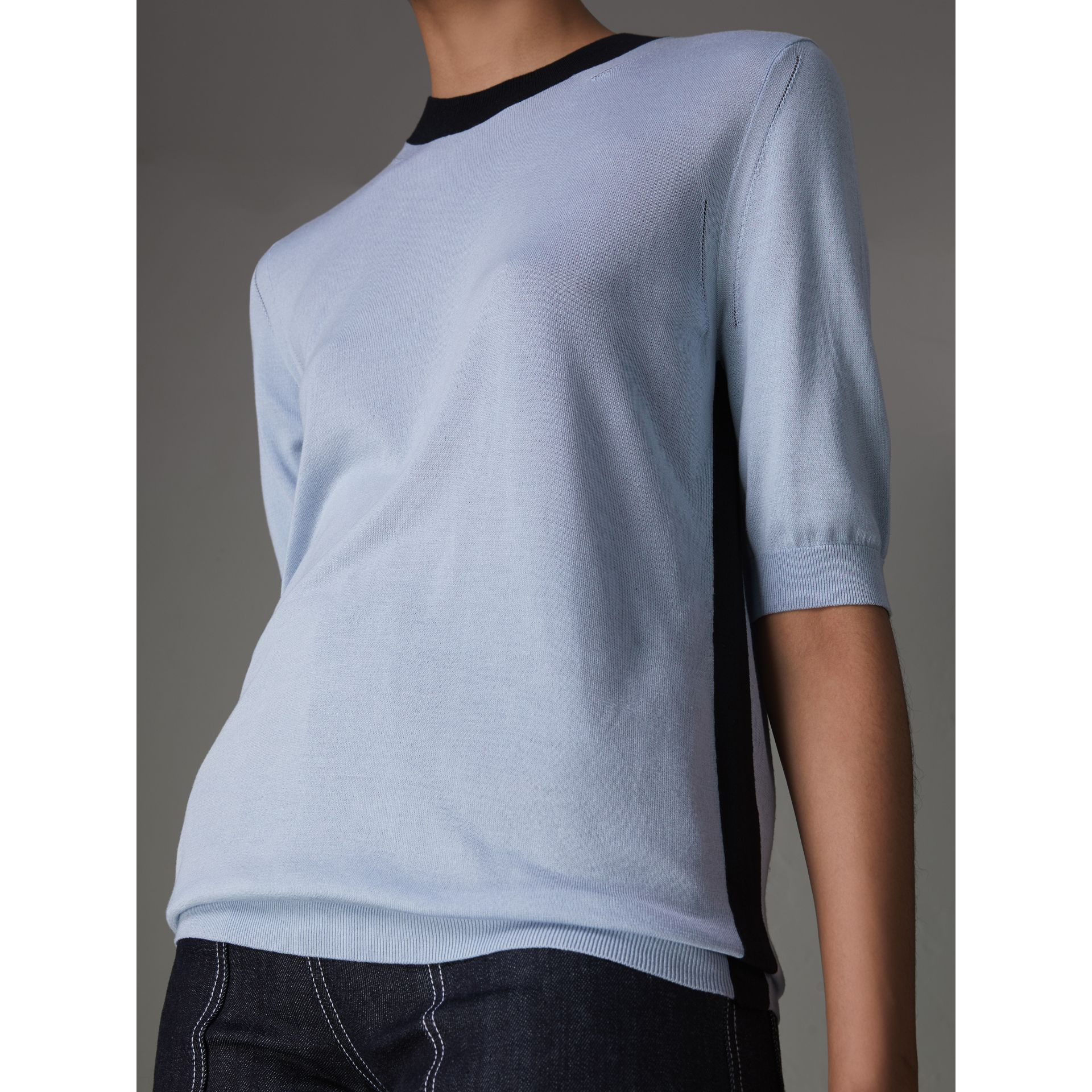 Silk Cashmere T-shirt in Sky Blue - Women | Burberry United Kingdom - gallery image 1
