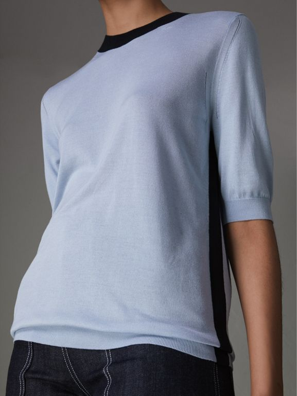 Silk Cashmere T-shirt in Sky Blue - Women | Burberry - cell image 1