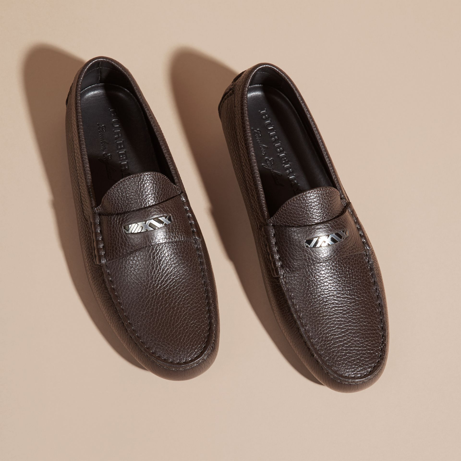 Dark chocolate Grainy Leather Loafers with Engraved Check Detail Dark Chocolate - gallery image 3