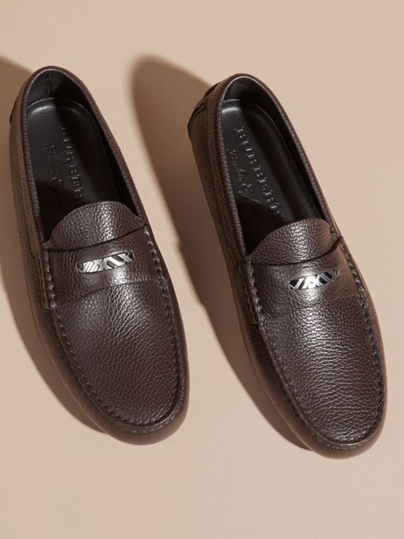 Dark chocolate Grainy Leather Loafers with Engraved Check Detail Dark Chocolate - cell image 2