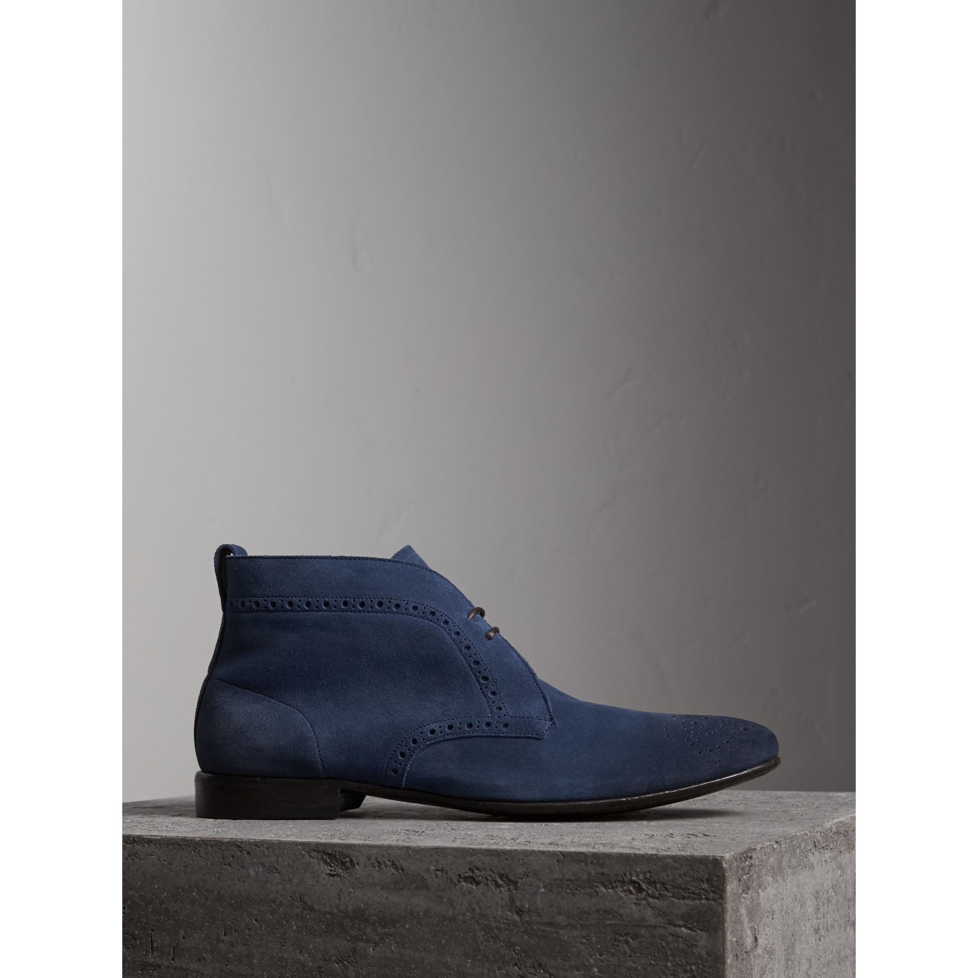 Brogue Detail Suede Desert Boots in Petrol Blue - Men | Burberry - gallery image 5