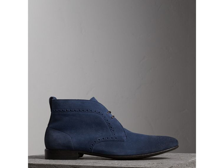 Brogue Detail Suede Desert Boots in Petrol Blue - Men | Burberry - cell image 4