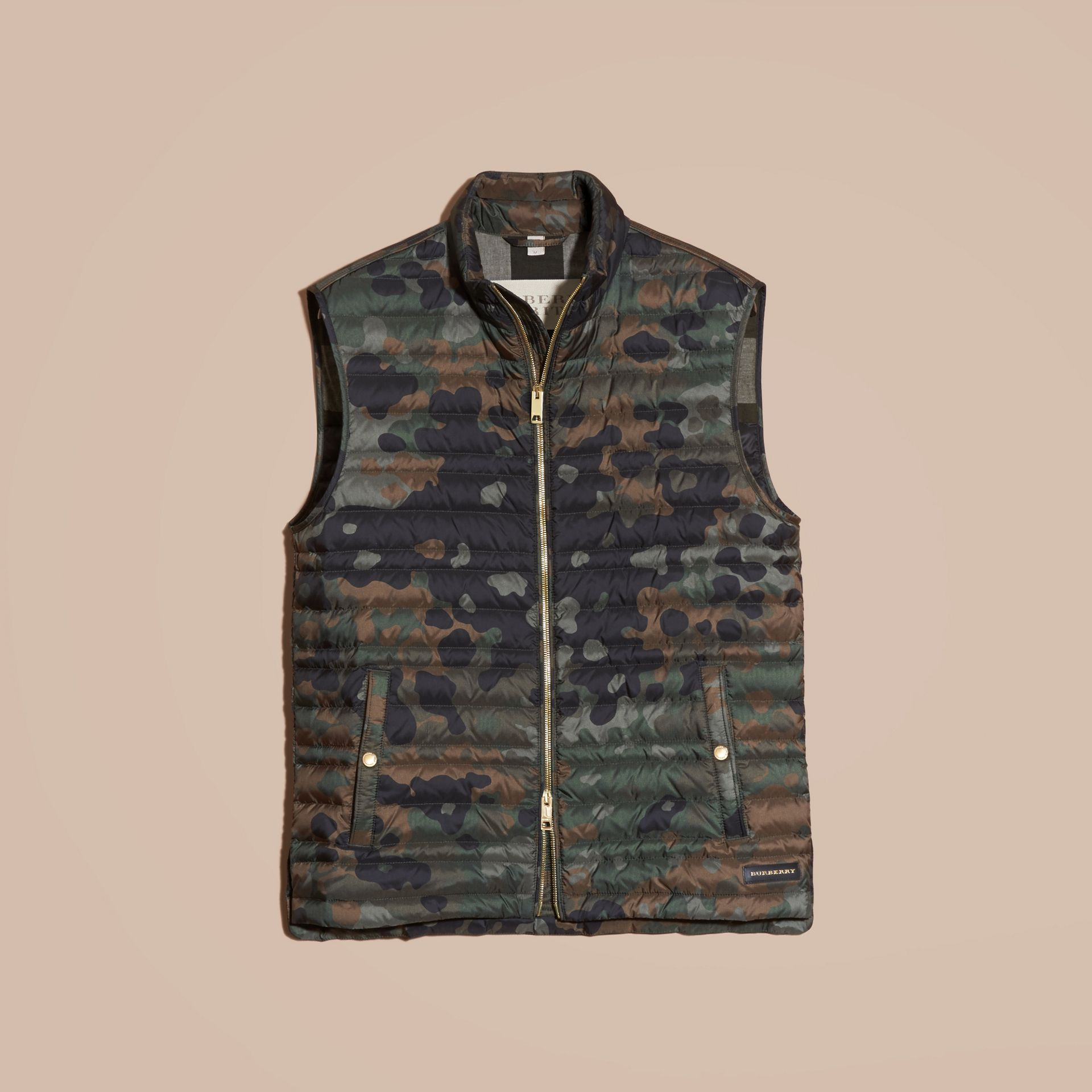 Dark cedar green Down-filled Camouflage Print Gilet - gallery image 4