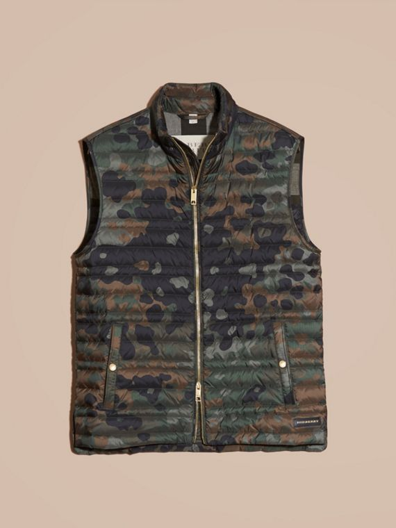 Dark cedar green Down-filled Camouflage Print Gilet - cell image 3