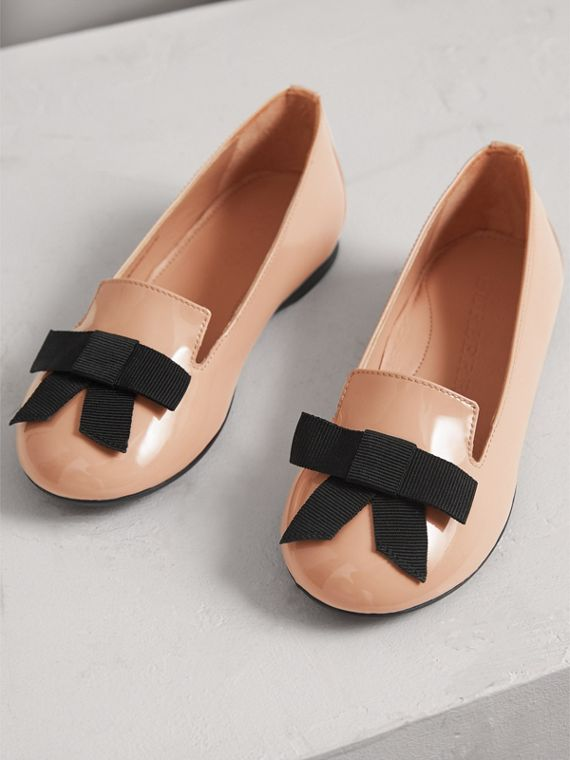 Bow Detail Patent Leather Ballerinas in Apricot Pink - Girl | Burberry - cell image 3