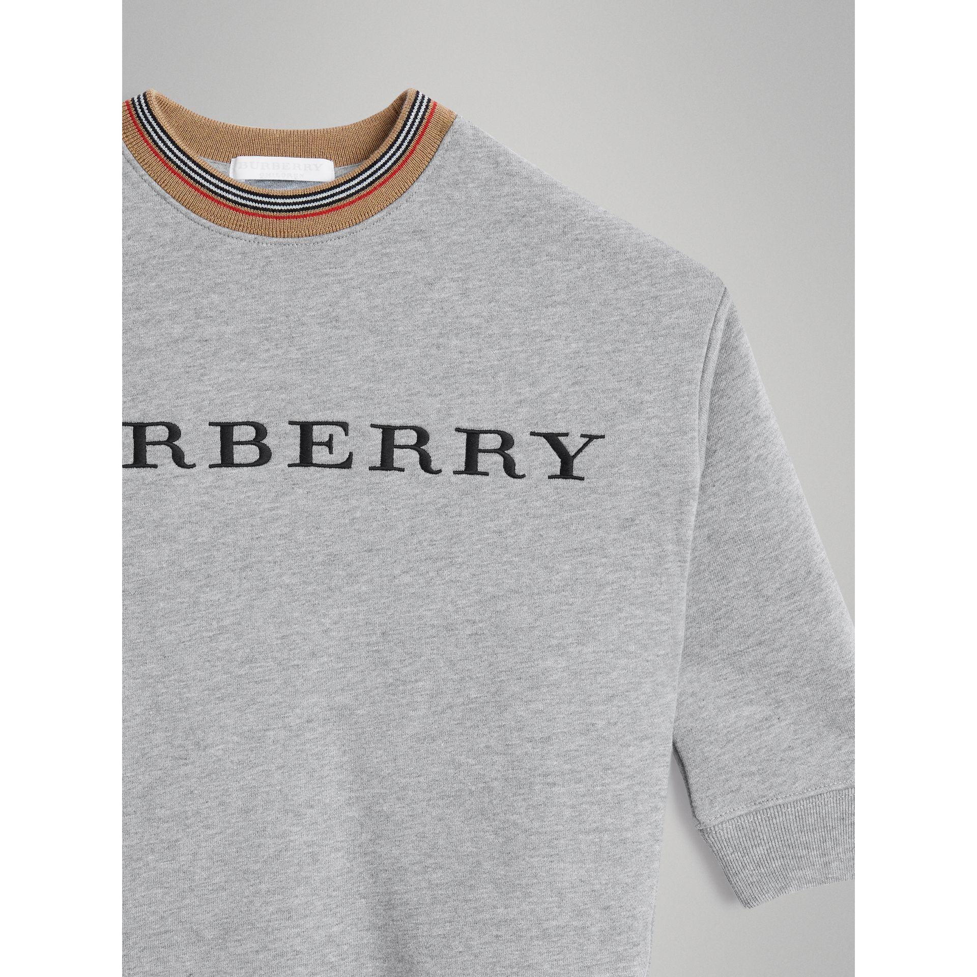 Embroidered Logo Cotton Dress in Grey Melange - Girl | Burberry - gallery image 4