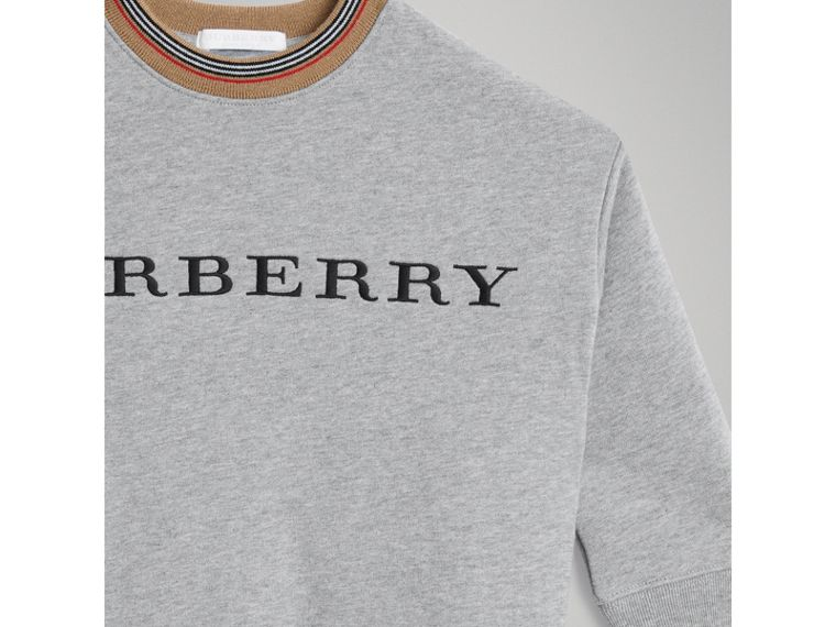 Embroidered Logo Cotton Sweatshirt in Grey Melange - Girl | Burberry - cell image 4