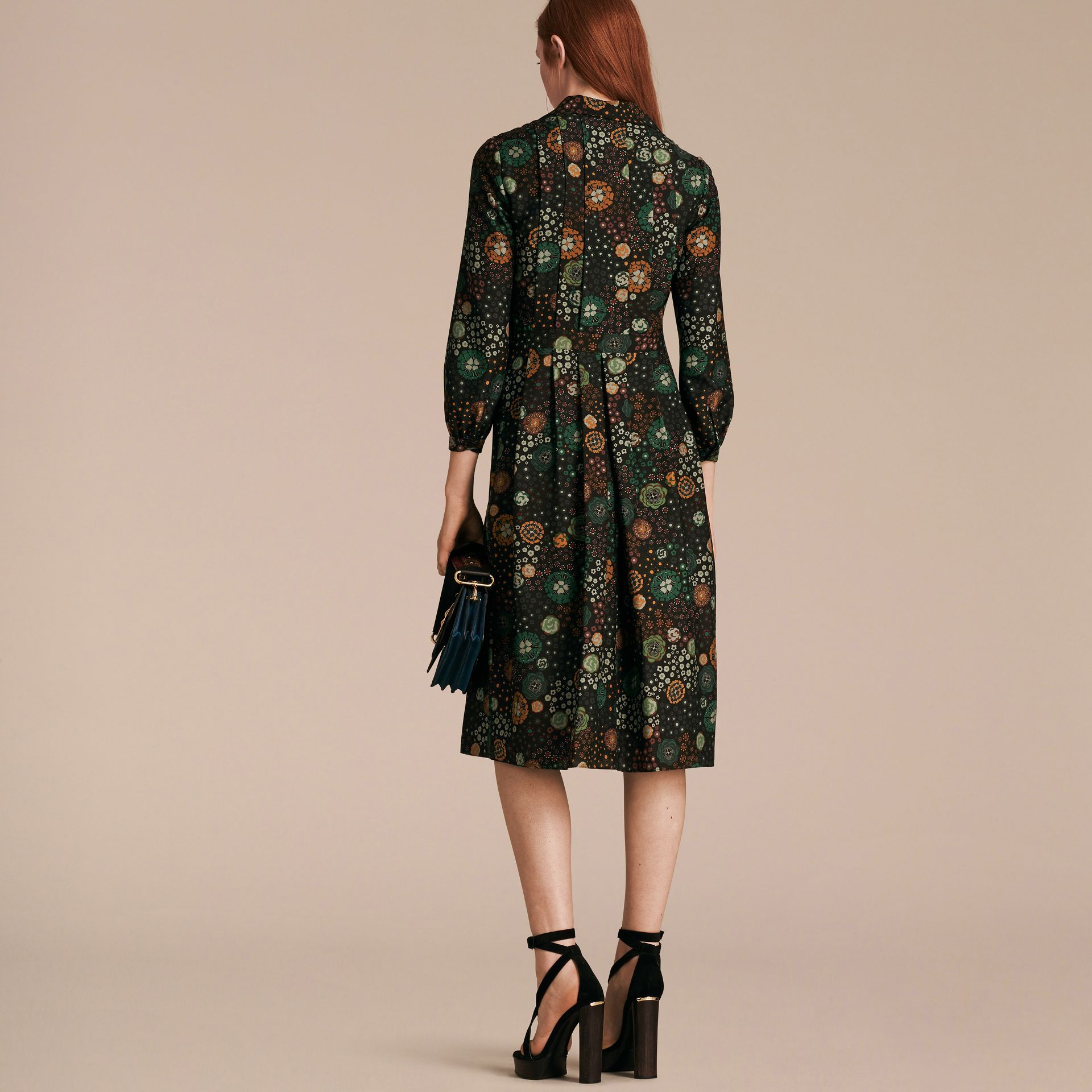 Pigment green Floral Silk Dress - gallery image 3