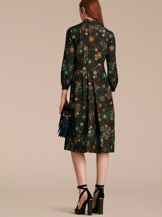 Pigment green Floral Silk Dress - cell image 2