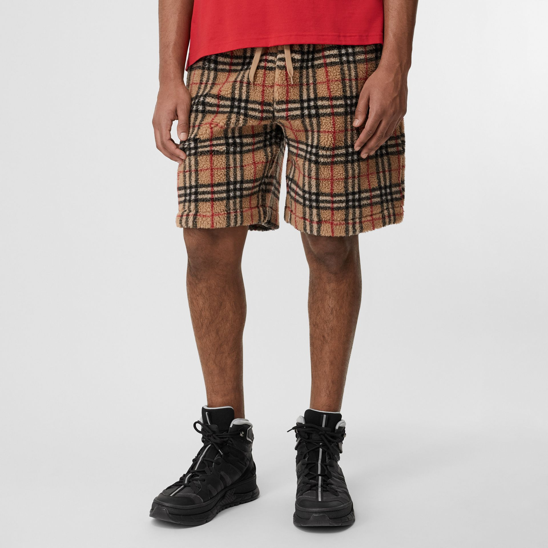 Vintage Check Faux Shearling Drawcord Shorts in Archive Beige - Men | Burberry Singapore - gallery image 4