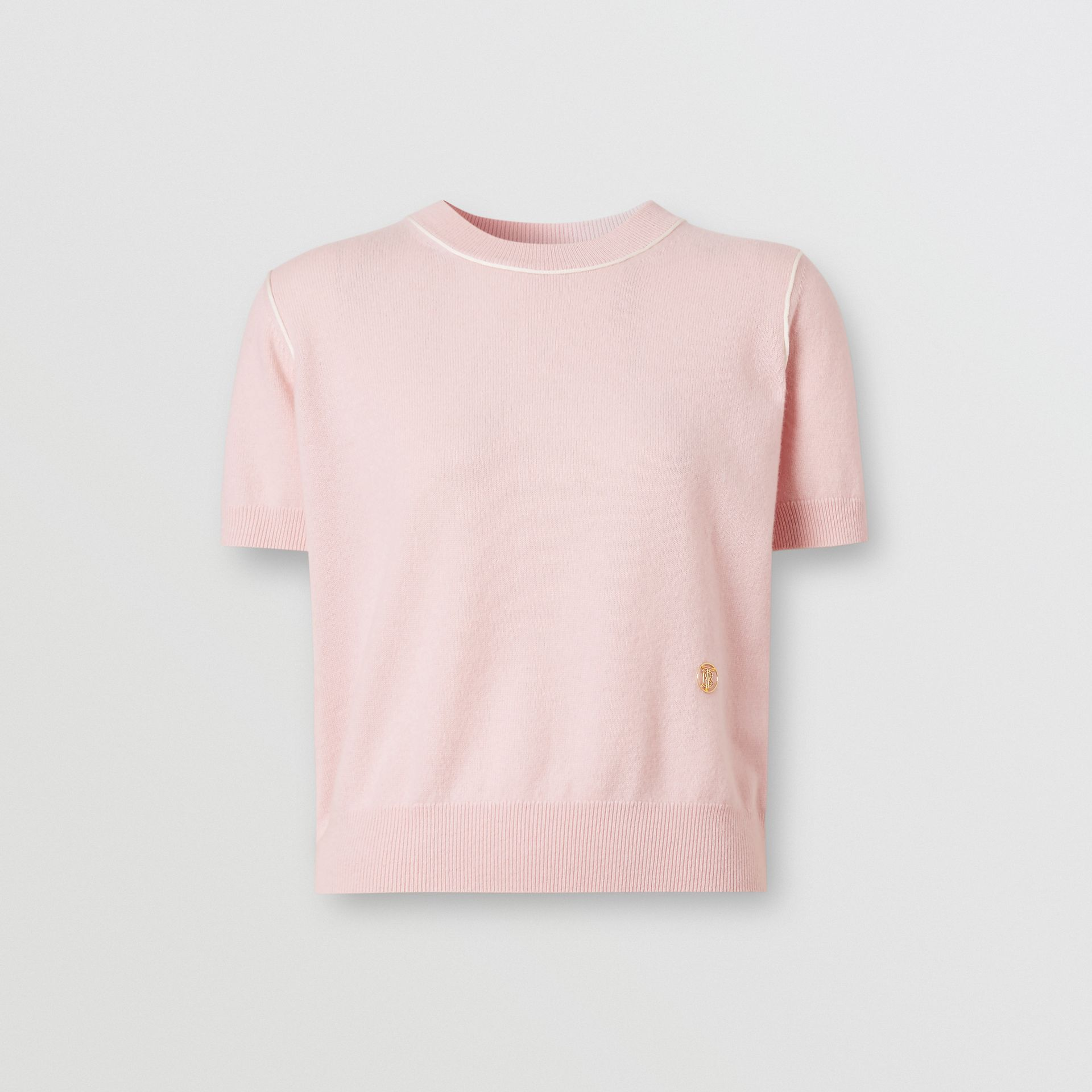 Short-sleeve Monogram Motif Cashmere Top in Copper Pink - Women | Burberry United Kingdom - gallery image 3