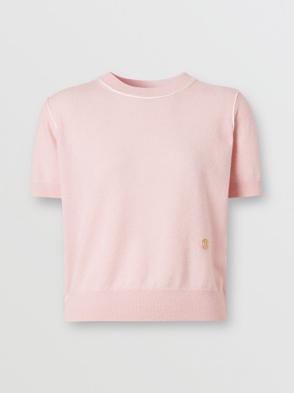 Short-sleeve Monogram Motif Cashmere Top in Copper Pink - Women | Burberry United Kingdom - cell image 3