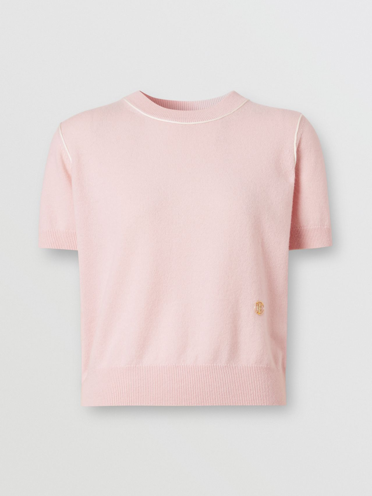 Short-sleeve Monogram Motif Cashmere Top in Copper Pink