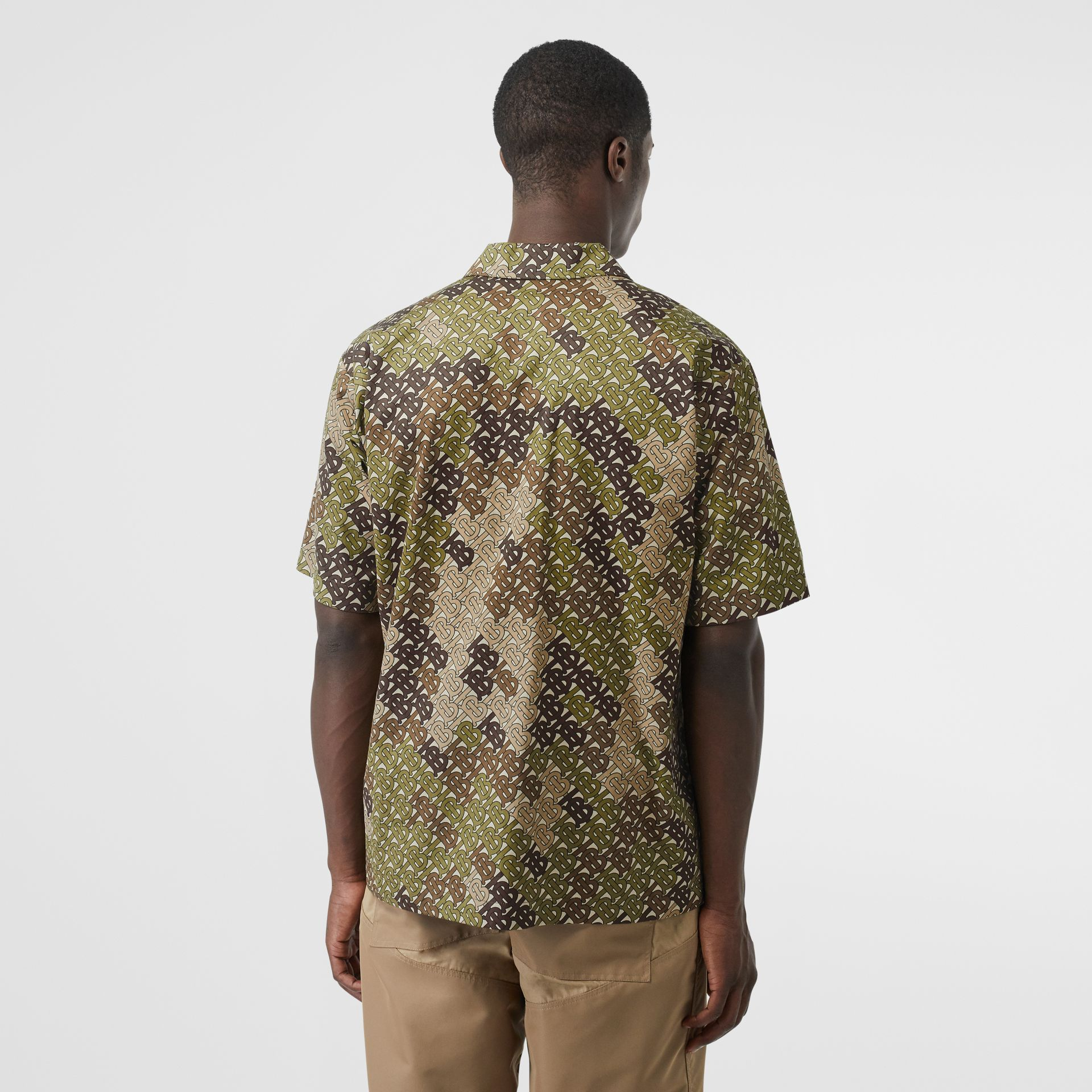 Short-sleeve Monogram Print Cotton Shirt in Khaki Green - Men | Burberry - gallery image 2