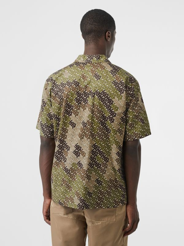 Short-sleeve Monogram Print Cotton Shirt in Khaki Green - Men | Burberry - cell image 2