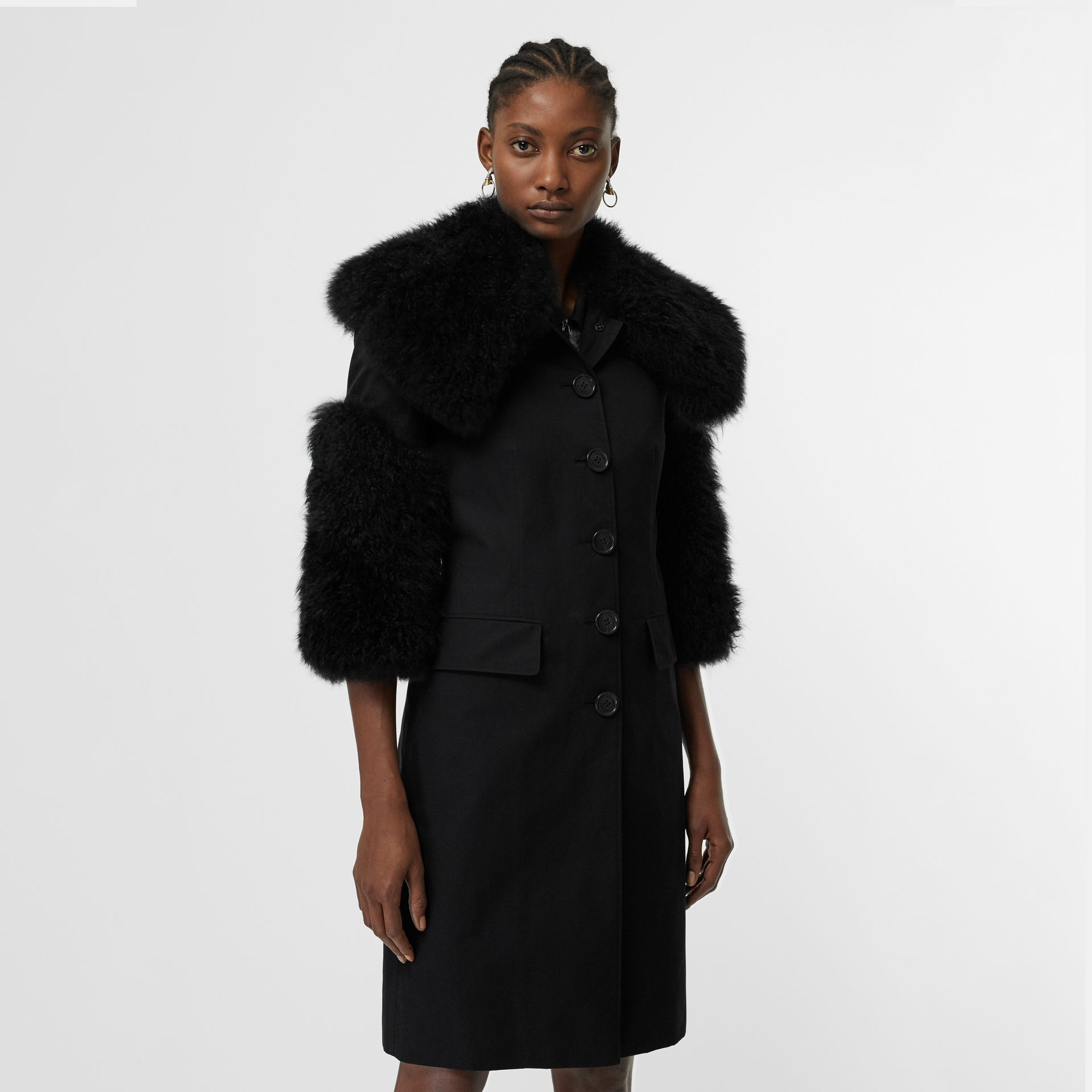 Goat Hair Trim Cotton Gabardine Coat in Black - Women | Burberry Canada - gallery image 5