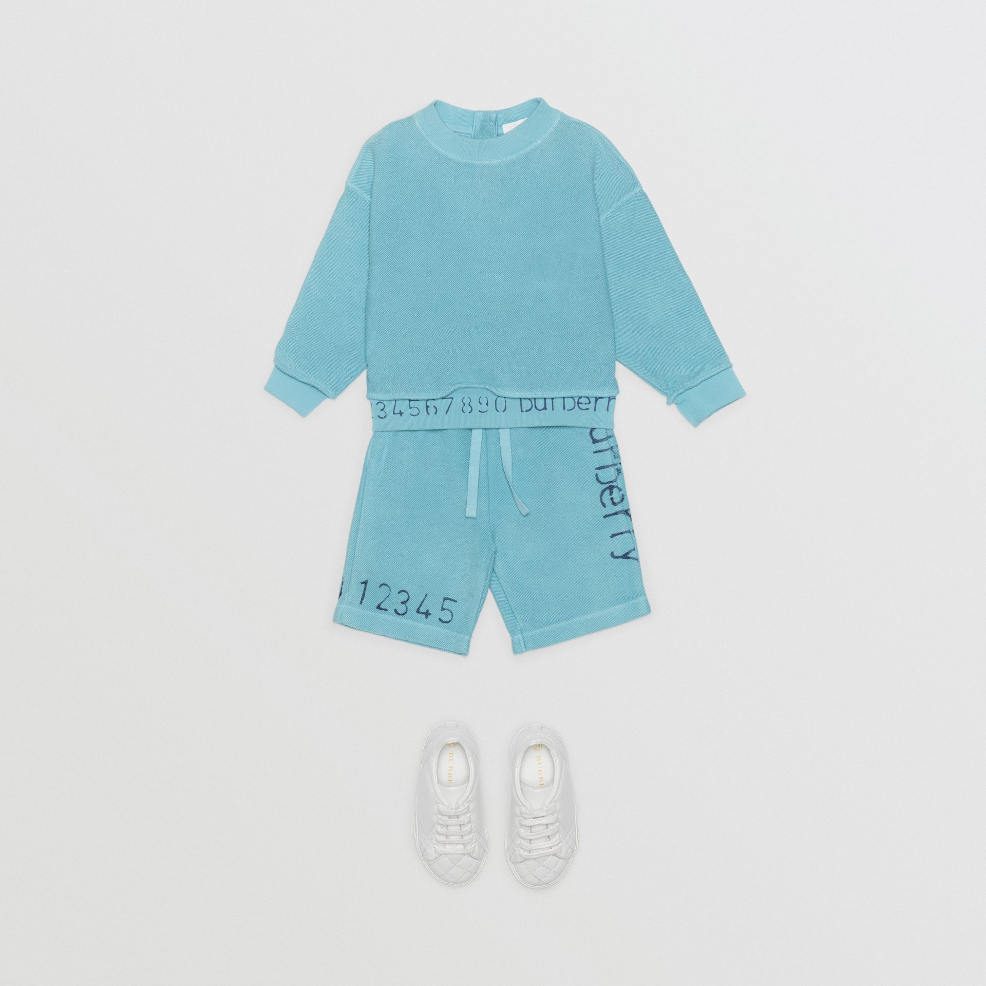 Sweat-shirt en coton avec logo au pochoir (Bleu Cyan Vif) - Enfant | Burberry - photo de la galerie 2