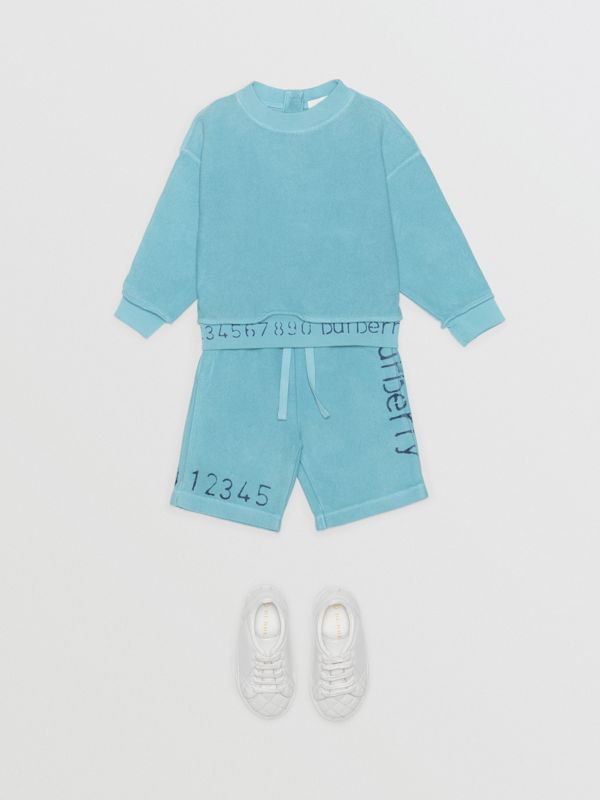 Stencil Logo Print Cotton Sweatshirt in Bright Cyan Blue - Children | Burberry - cell image 2