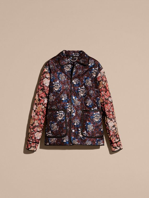 Deep claret Peony Rose Print Quilted Jacket - cell image 3