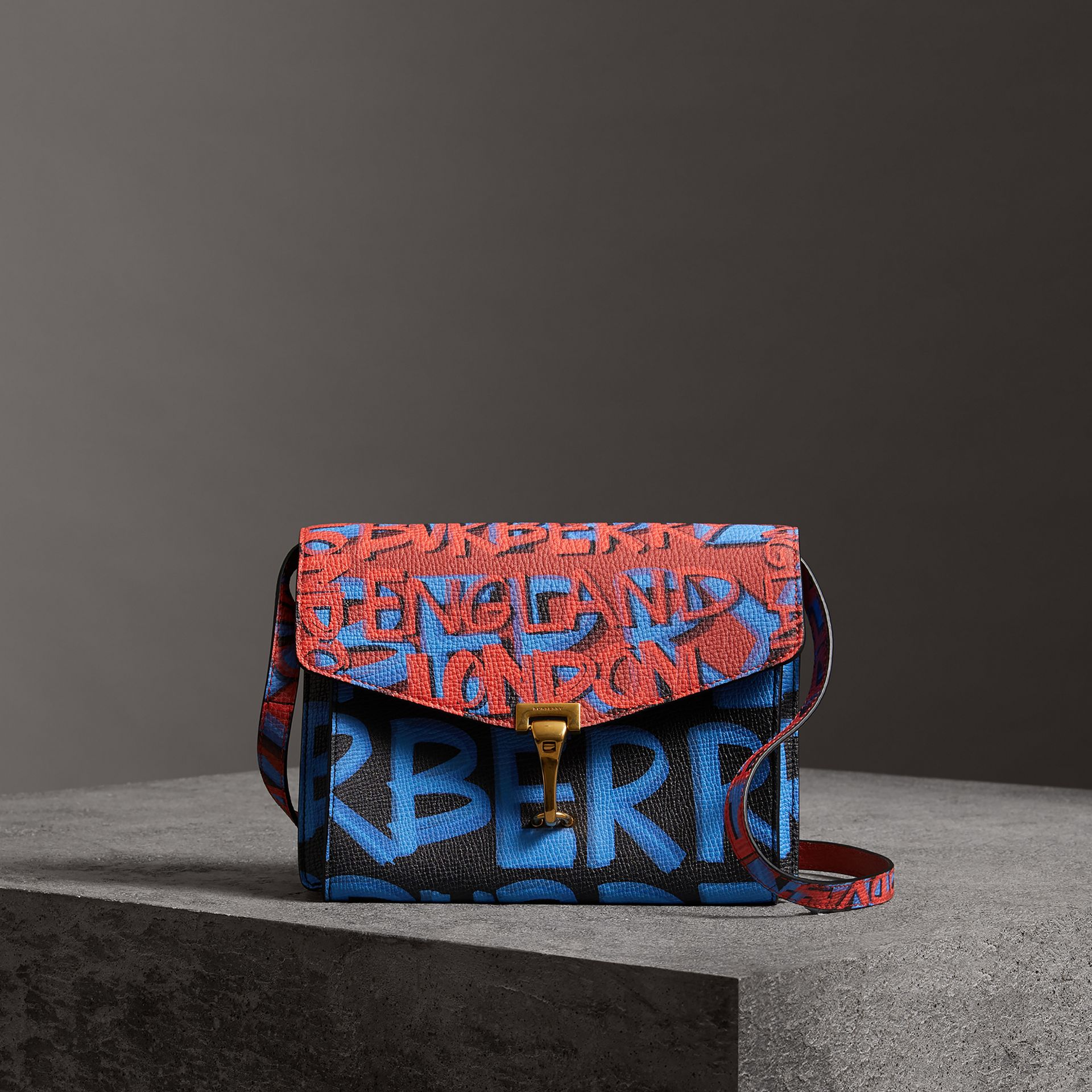 Small Graffiti Print Leather Crossbody Bag in Black - Women | Burberry Australia - gallery image 0