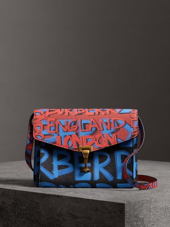 Small Graffiti Print Leather Crossbody Bag in Black